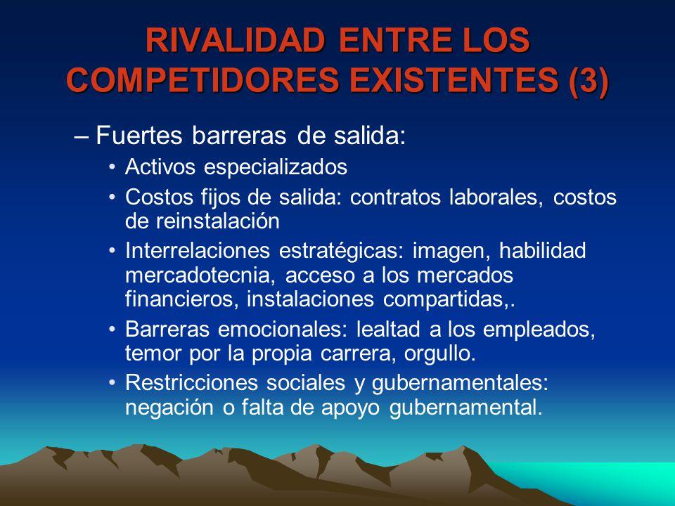 RIVALIDAD ENTRE LOS COMPETIDORES EXISTENTES (3) –Fuertes barreras de salida: Activos especializados Costos fijos de salida: contratos laborales, costo