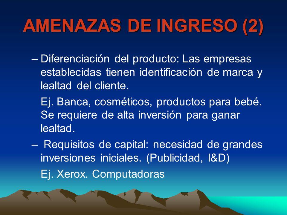AMENAZAS DE INGRESO (2) –Diferenciación del producto: Las empresas establecidas tienen identificación de marca y lealtad del cliente. Ej. Banca, cosmé