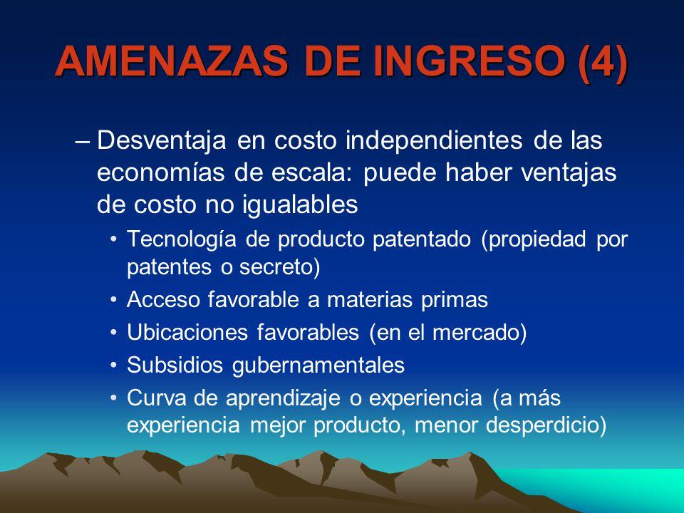 AMENAZAS DE INGRESO (4) –Desventaja en costo independientes de las economías de escala: puede haber ventajas de costo no igualables Tecnología de prod