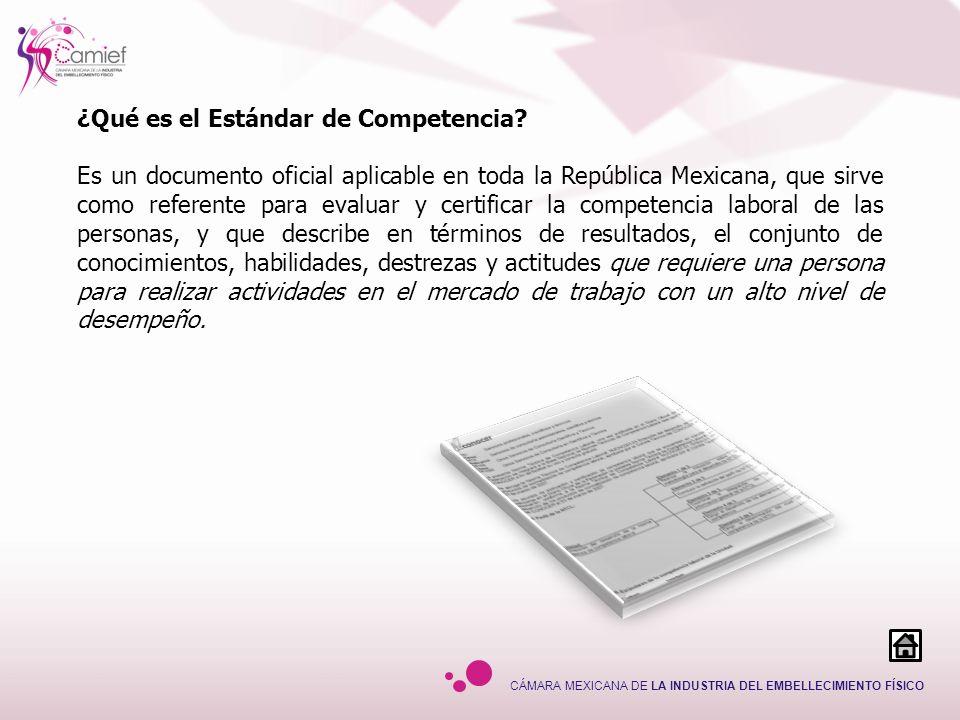 CÁMARA MEXICANA DE LA INDUSTRIA DEL EMBELLECIMIENTO FÍSICO ¿Qué es el Estándar de Competencia? Es un documento oficial aplicable en toda la República