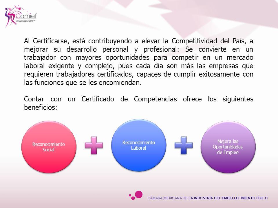 CÁMARA MEXICANA DE LA INDUSTRIA DEL EMBELLECIMIENTO FÍSICO ¿Qué ventajas se obtienen con la Certificación.