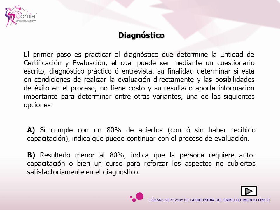 CÁMARA MEXICANA DE LA INDUSTRIA DEL EMBELLECIMIENTO FÍSICO El primer paso es practicar el diagnóstico que determine la Entidad de Certificación y Eval