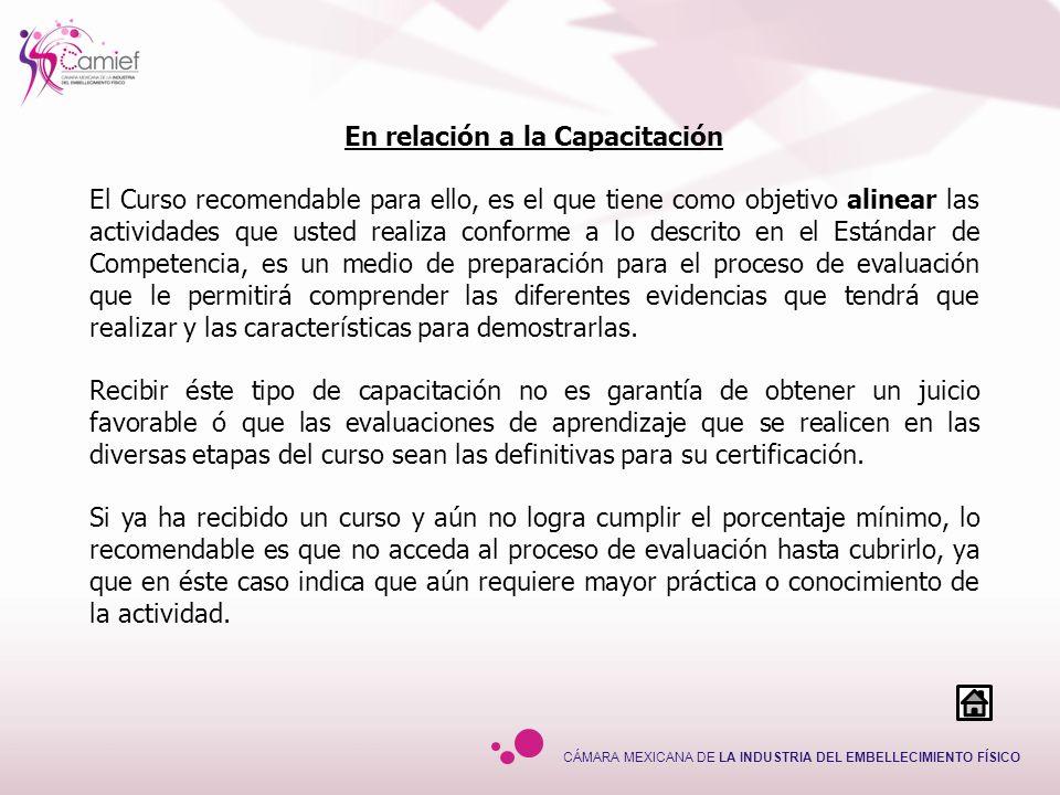 CÁMARA MEXICANA DE LA INDUSTRIA DEL EMBELLECIMIENTO FÍSICO En relación a la Capacitación El Curso recomendable para ello, es el que tiene como objetiv