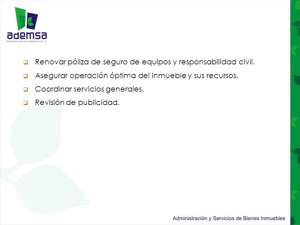  Renovar póliza de seguro de equipos y responsabilidad civil.