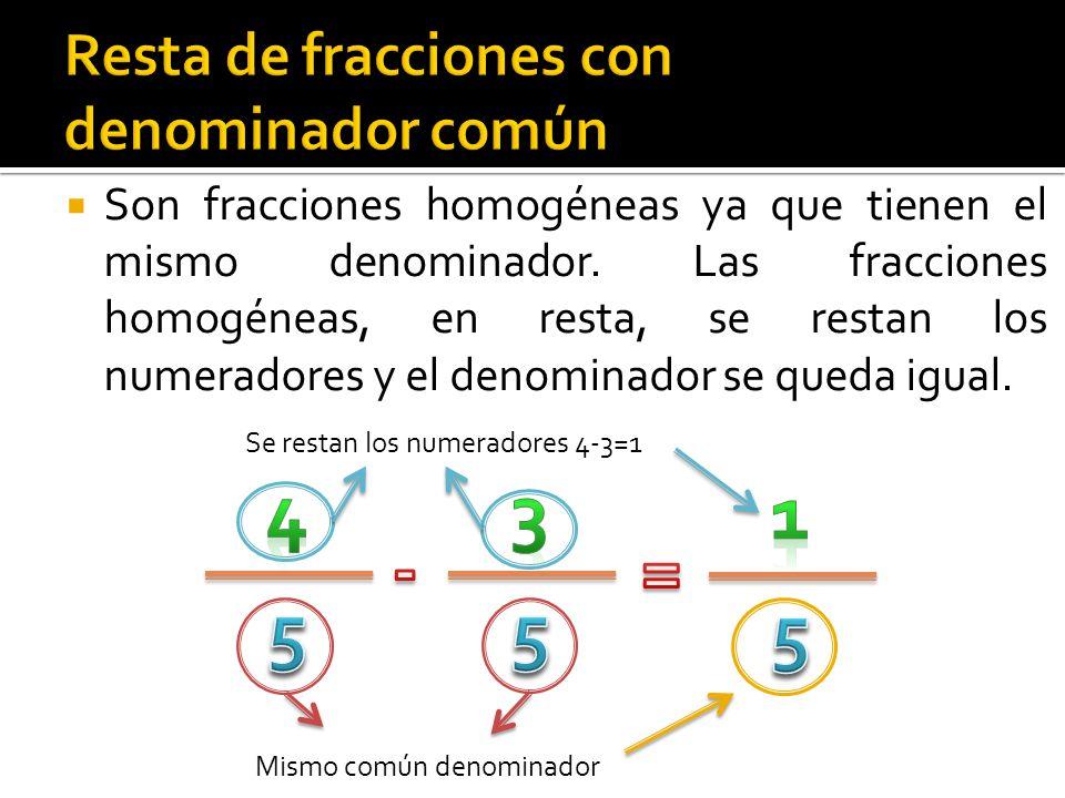  Las fracciones son heterogéneas, porque los denominadores son diferentes.