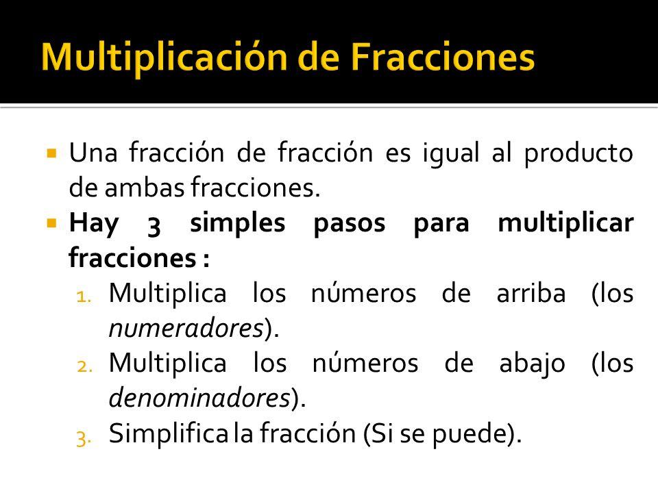 Se multiplican los numeradores 5 x 1=5 El resultado se coloca en el numerador de la fracción resultante.