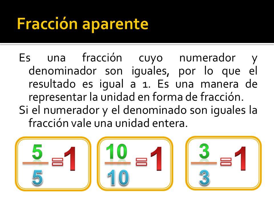 Cuando el numerador es igual o mayor que el denominador, la fracción vale igual o más que la unidad y se llama impropia.
