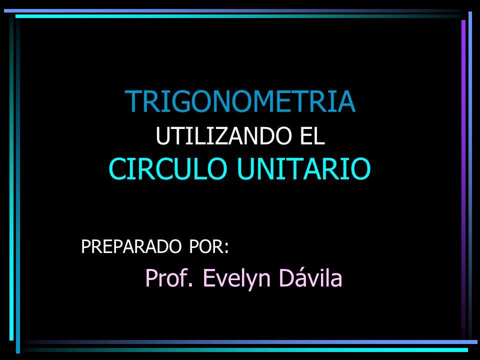 TRIGONOMETRIA UTILIZANDO EL CIRCULO UNITARIO PREPARADO POR: Prof. Evelyn Dávila