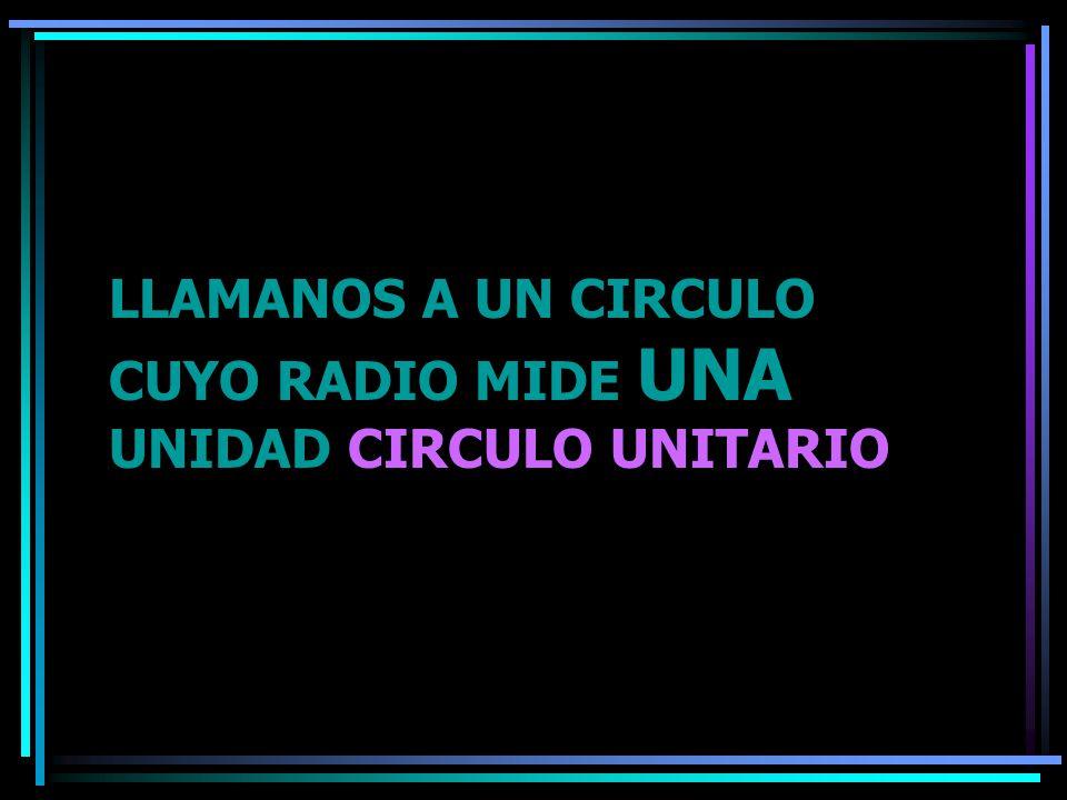 LLAMANOS A UN CIRCULO CUYO RADIO MIDE UNA UNIDAD CIRCULO UNITARIO