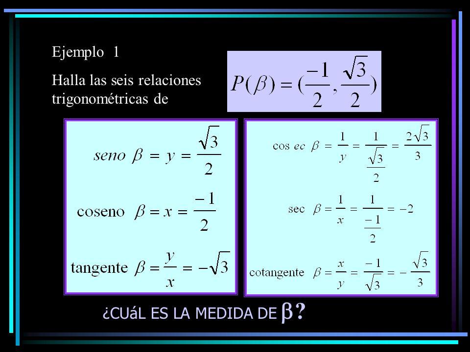 Ejemplo 1 Halla las seis relaciones trigonométricas de ¿CUáL ES LA MEDIDA DE  ?
