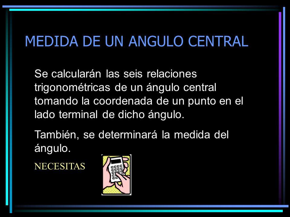 MEDIDA DE UN ANGULO CENTRAL Se calcularán las seis relaciones trigonométricas de un ángulo central tomando la coordenada de un punto en el lado termin