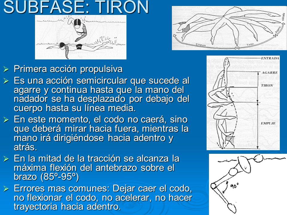  Primera acción propulsiva  Es una acción semicircular que sucede al agarre y continua hasta que la mano del nadador se ha desplazado por debajo del