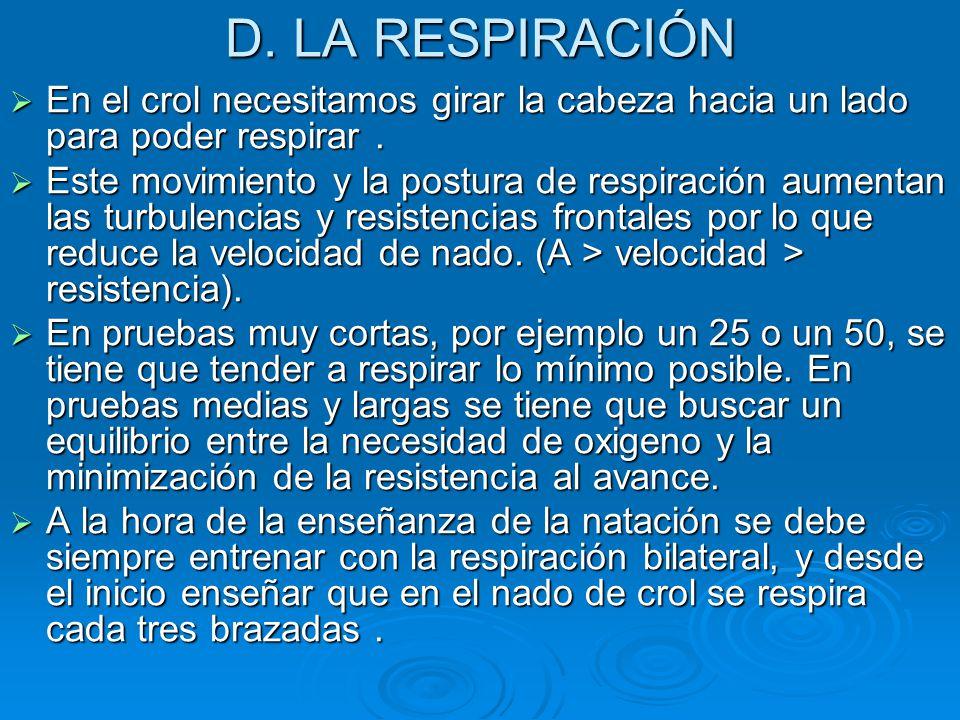 D. LA RESPIRACIÓN  En el crol necesitamos girar la cabeza hacia un lado para poder respirar.  Este movimiento y la postura de respiración aumentan l