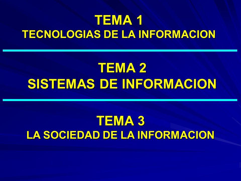 TEMA 1 TECNOLOGIAS DE LA INFORMACION TEMA 2 SISTEMAS DE INFORMACION TEMA 3 LA SOCIEDAD DE LA INFORMACION