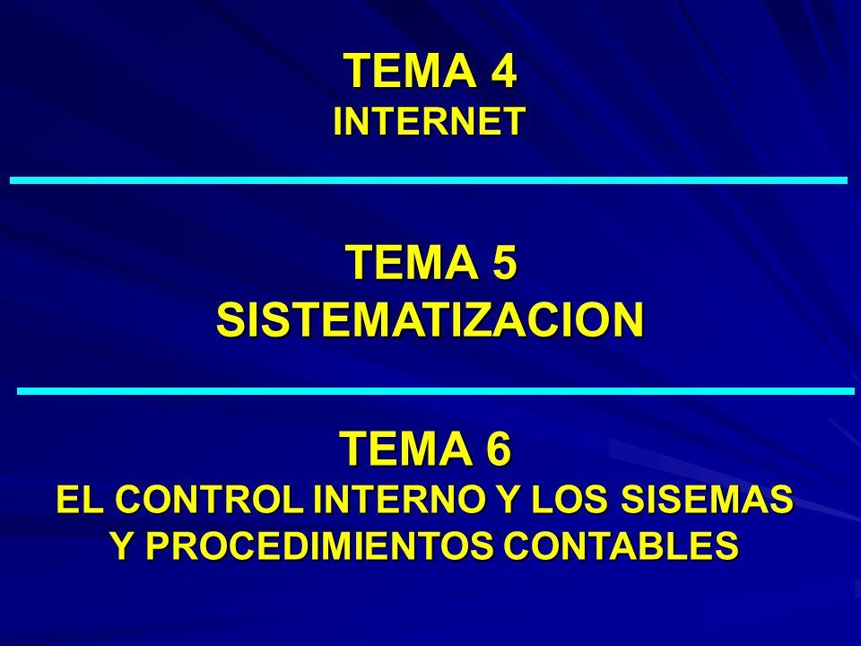 TEMA 4 INTERNET TEMA 5 SISTEMATIZACION TEMA 6 EL CONTROL INTERNO Y LOS SISEMAS Y PROCEDIMIENTOS CONTABLES