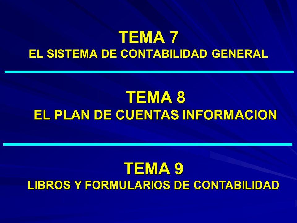 TEMA 7 EL SISTEMA DE CONTABILIDAD GENERAL TEMA 8 EL PLAN DE CUENTAS INFORMACION TEMA 9 LIBROS Y FORMULARIOS DE CONTABILIDAD