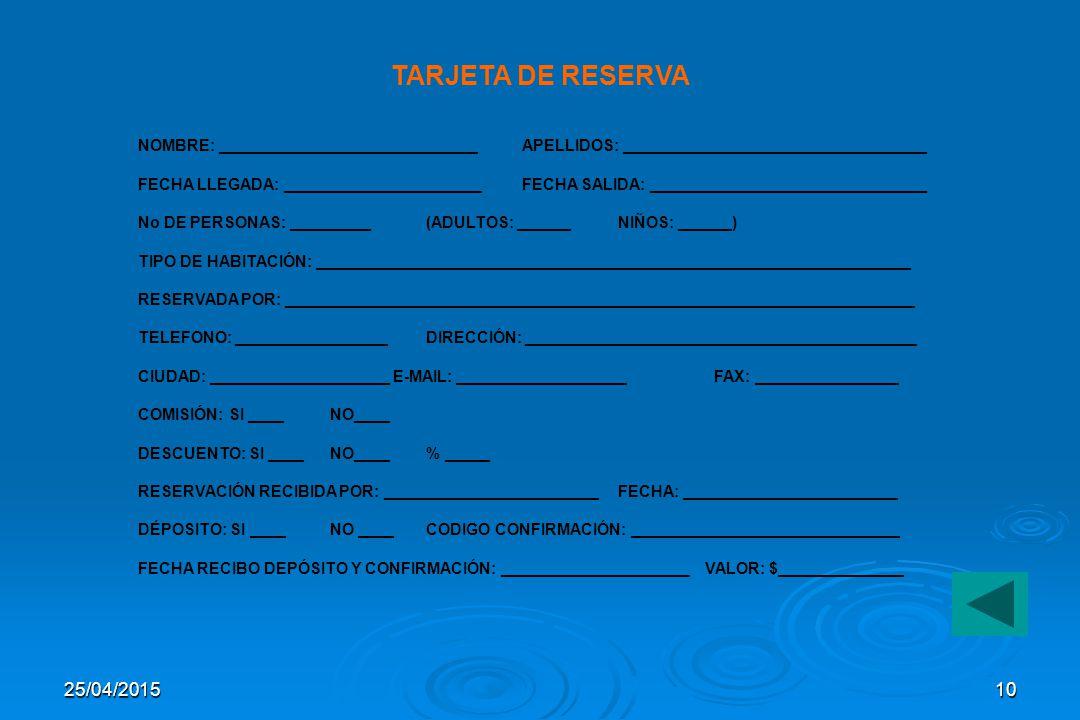 25/04/20159 HAB No TIPO CARAC.DIAS 1 2345678910111213.