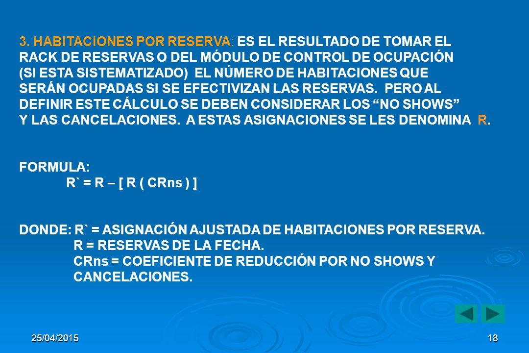 25/04/2015 17 2 STAY OVER : HACE REFERENCIA AL CÁLCULO QUE RESULTA DE TOMAR EL NÚMERO DE HABITACIONES OCUPADAS LA NOCHE ANTERIOR Y RESTARLE LAS HABITACIONES CHECK OUT O EN SALIDA.