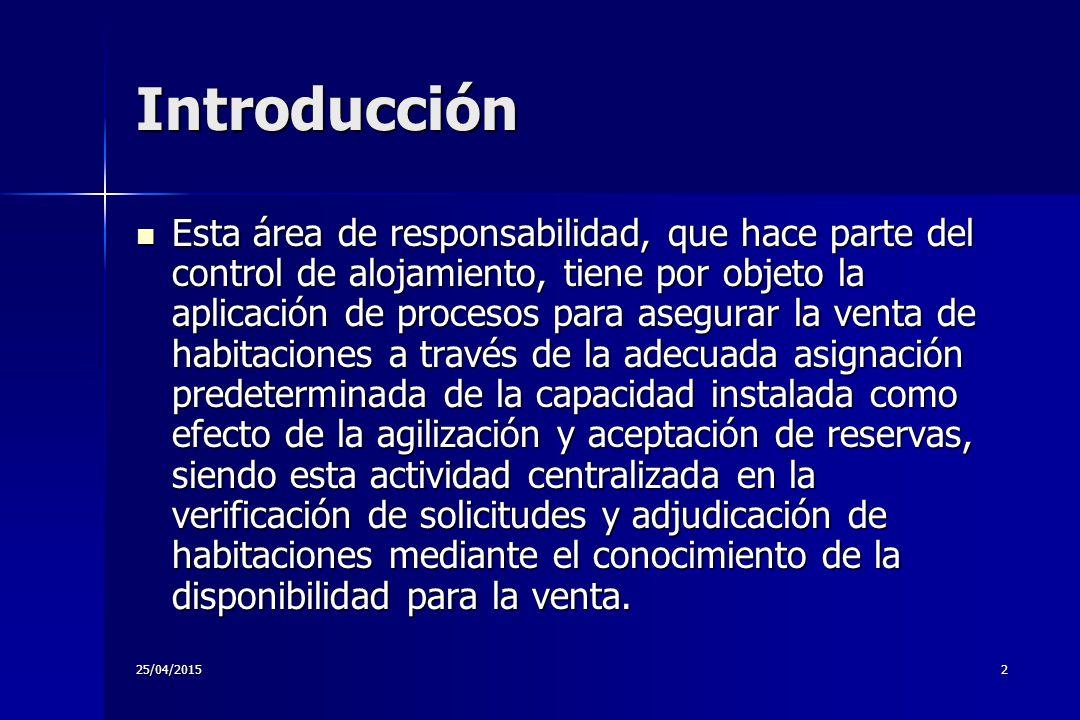 25/04/20151 CONTROL DE RESERVAS DE HABITACIONES ANA LYDA GONZALEZ OCAMPO