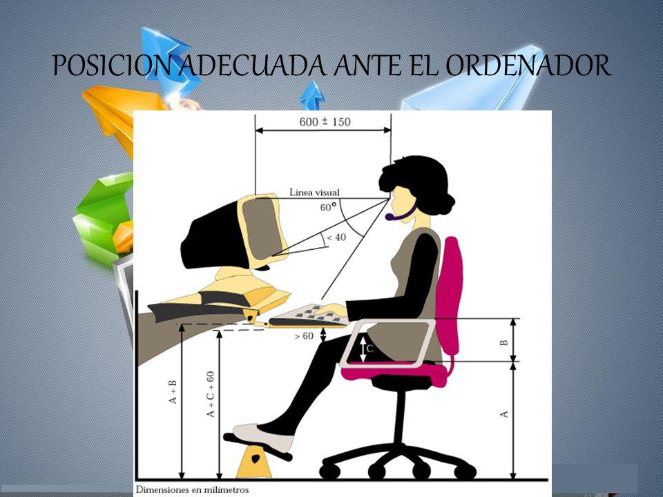 POSICION ADECUADA ANTE EL ORDENADOR