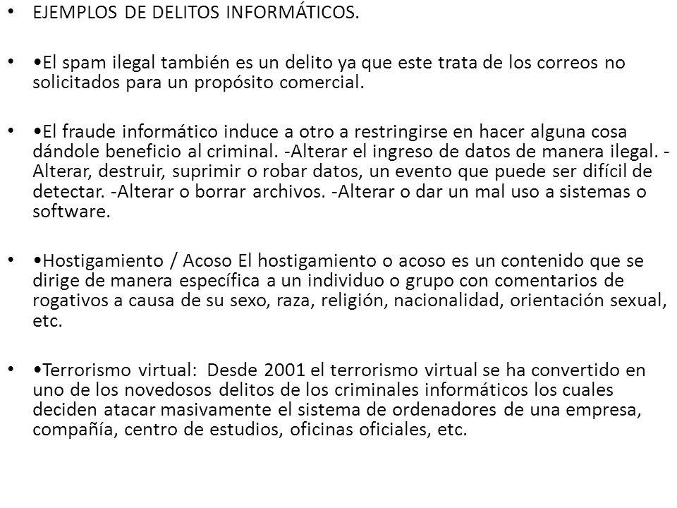 EJEMPLOS DE DELITOS INFORMÁTICOS.
