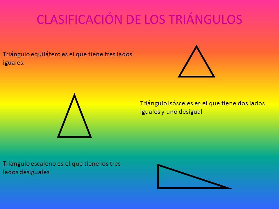 CLASIFICACIÓN DE LOS TRIÁNGULOS Triángulo equilátero es el que tiene tres lados iguales.