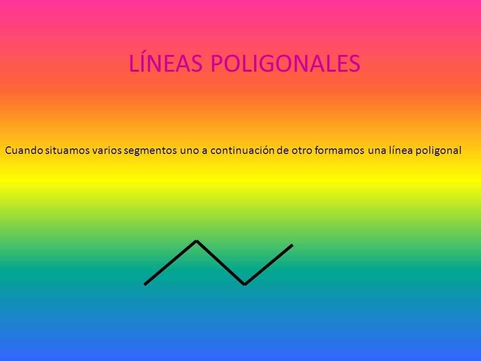 Cuando situamos varios segmentos uno a continuación de otro formamos una línea poligonal LÍNEAS POLIGONALES