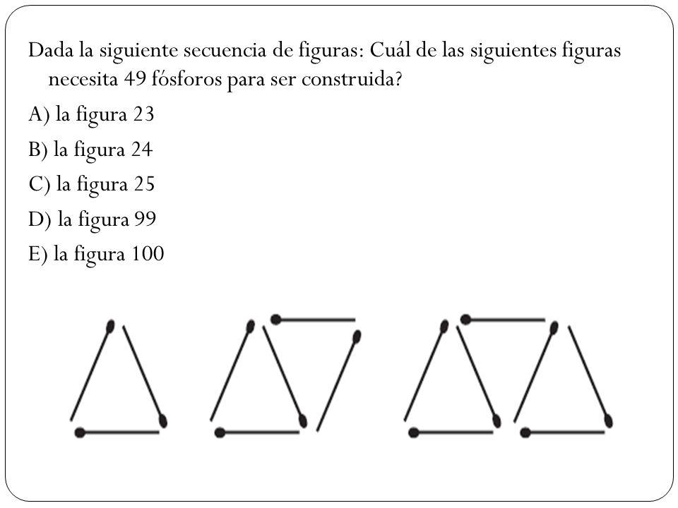 Dada la siguiente secuencia de figuras: Cuál de las siguientes figuras necesita 49 fósforos para ser construida.