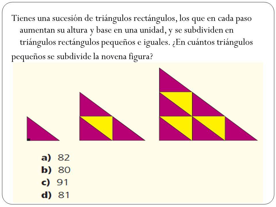 Tienes una sucesión de triángulos rectángulos, los que en cada paso aumentan su altura y base en una unidad, y se subdividen en triángulos rectángulos pequeños e iguales.