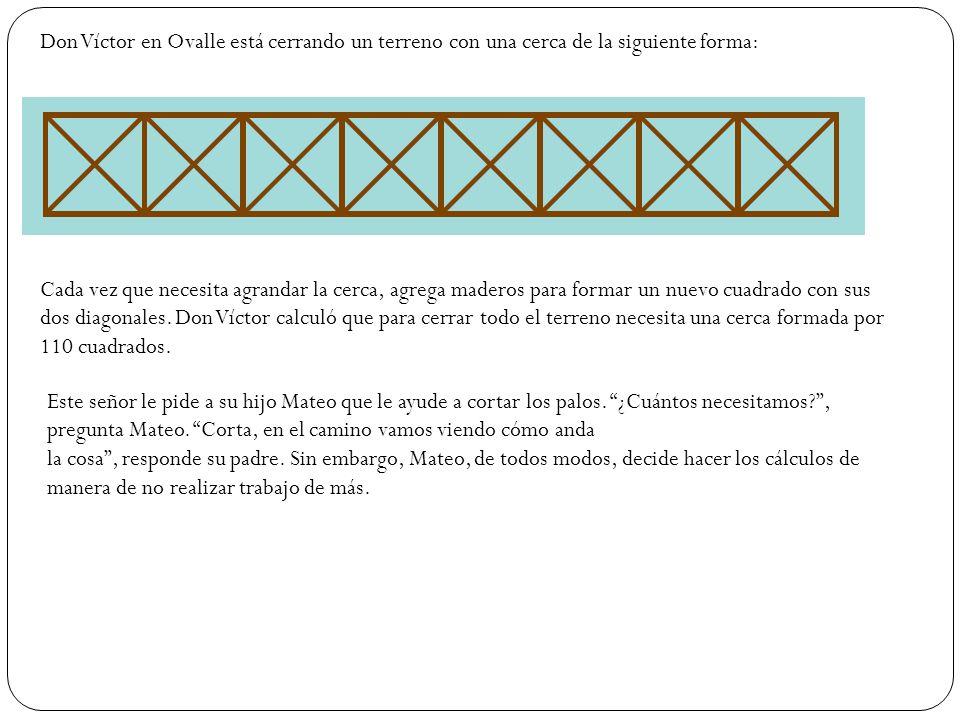 Don Víctor en Ovalle está cerrando un terreno con una cerca de la siguiente forma: Cada vez que necesita agrandar la cerca, agrega maderos para formar un nuevo cuadrado con sus dos diagonales.
