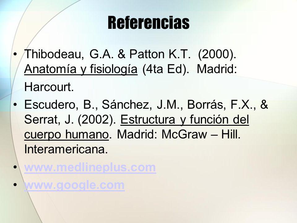 Referencias Thibodeau, G.A. & Patton K.T. (2000). Anatomía y fisiología (4ta Ed). Madrid: Harcourt. Escudero, B., Sánchez, J.M., Borrás, F.X., & Serra
