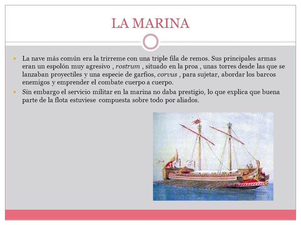 LA MARINA La nave más común era la trirreme con una triple fila de remos.