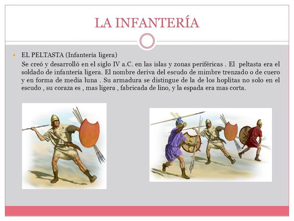 LA INFANTERÍA EL PELTASTA (Infantería ligera) Se creó y desarrolló en el siglo IV a.C.