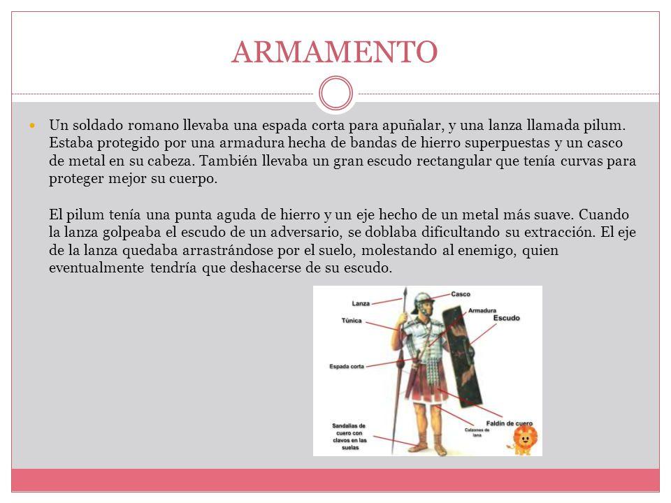 ARMAMENTO Un soldado romano llevaba una espada corta para apuñalar, y una lanza llamada pilum.