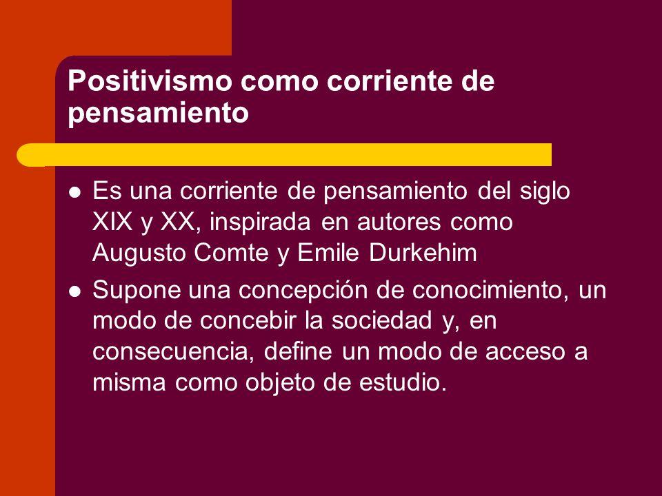 Positivismo como corriente de pensamiento Es una corriente de pensamiento del siglo XIX y XX, inspirada en autores como Augusto Comte y Emile Durkehim Supone una concepción de conocimiento, un modo de concebir la sociedad y, en consecuencia, define un modo de acceso a misma como objeto de estudio.