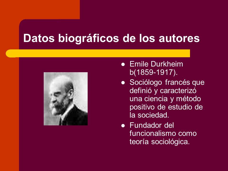 Datos biográficos de los autores Emile Durkheim b(1859-1917).