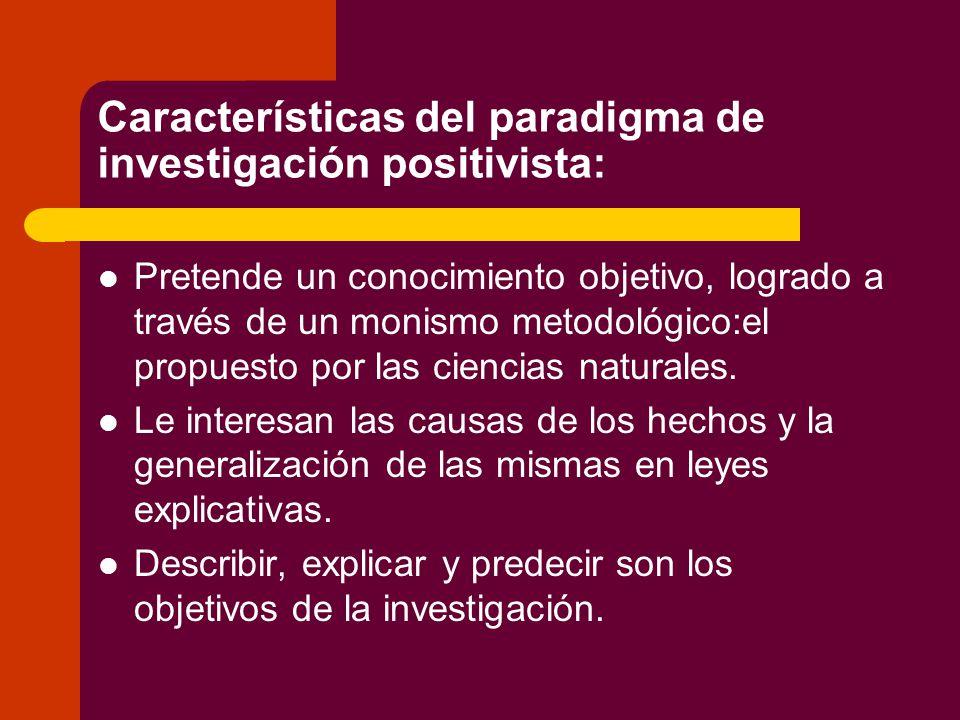 Características del paradigma de investigación positivista: Pretende un conocimiento objetivo, logrado a través de un monismo metodológico:el propuesto por las ciencias naturales.