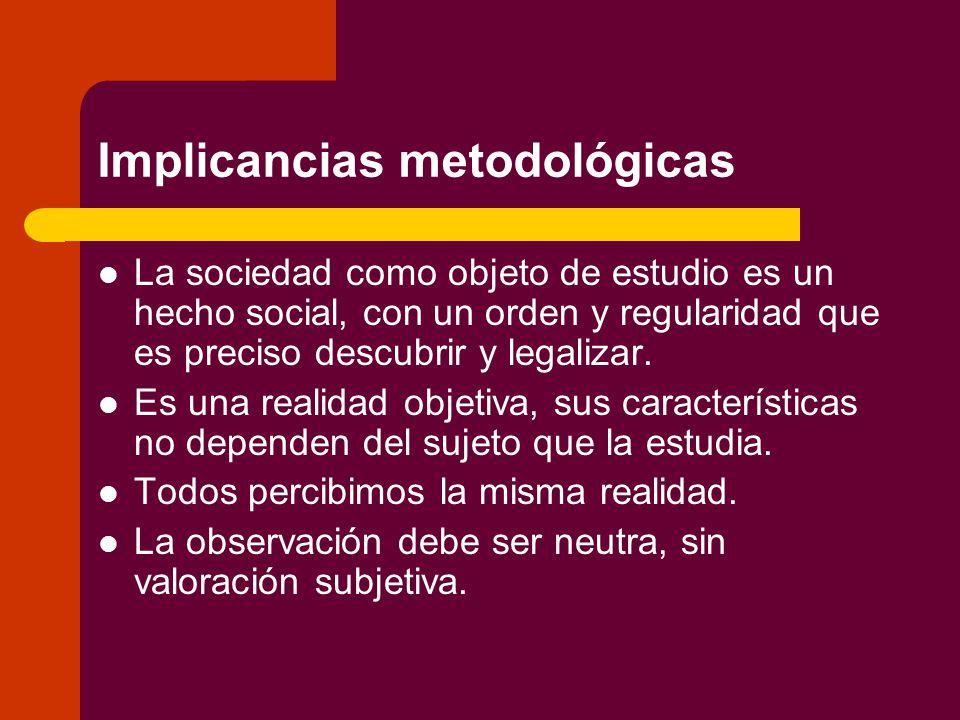 Implicancias metodológicas La sociedad como objeto de estudio es un hecho social, con un orden y regularidad que es preciso descubrir y legalizar.