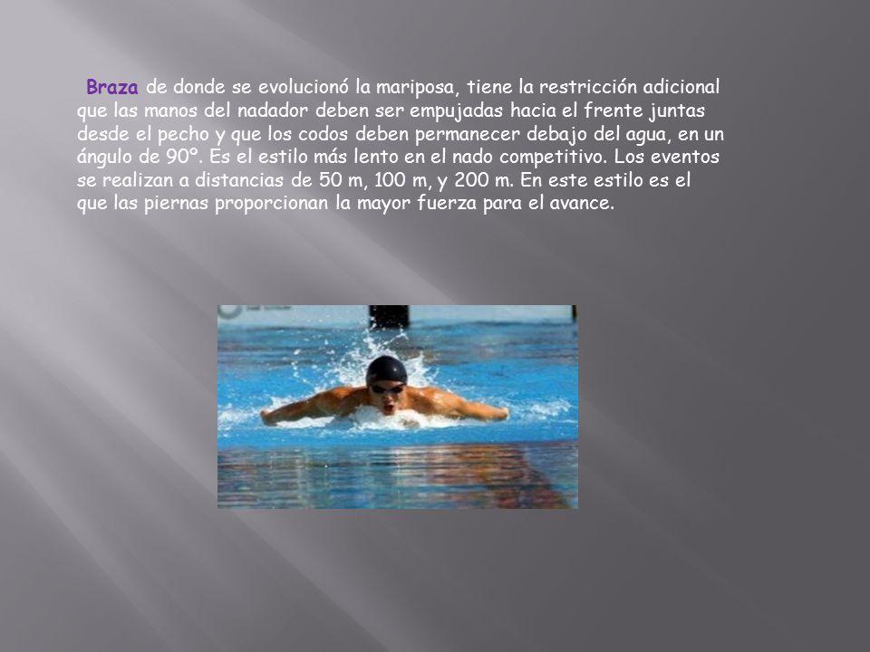 Braza de donde se evolucionó la mariposa, tiene la restricción adicional que las manos del nadador deben ser empujadas hacia el frente juntas desde el pecho y que los codos deben permanecer debajo del agua, en un ángulo de 90º.