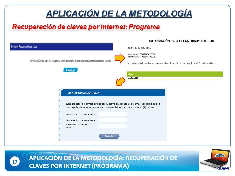 17 Recuperación de claves por internet: Programa APLICACIÓN DE LA METODOLOGÍA APLICACIÓN DE LA METODOLOGÍA: RECUPERACIÓN DE CLAVES POR INTERNET (PROGRAMA)