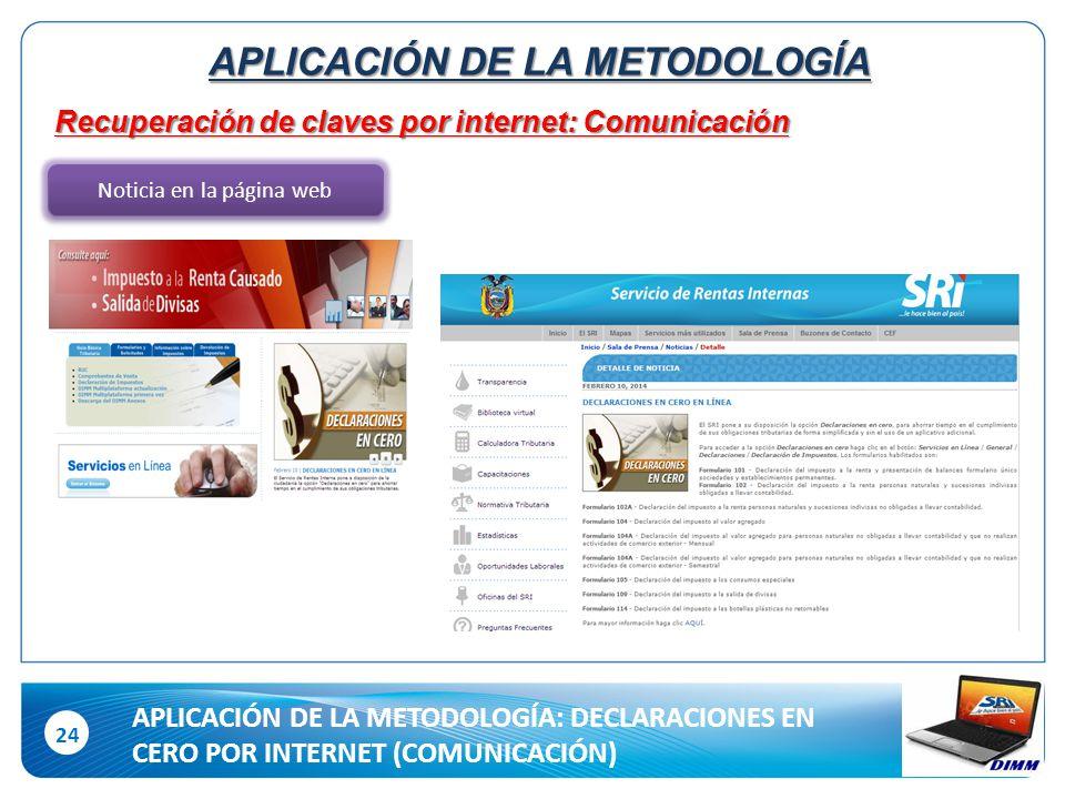 24 Recuperación de claves por internet: Comunicación Noticia en la página web APLICACIÓN DE LA METODOLOGÍA APLICACIÓN DE LA METODOLOGÍA: DECLARACIONES EN CERO POR INTERNET (COMUNICACIÓN)