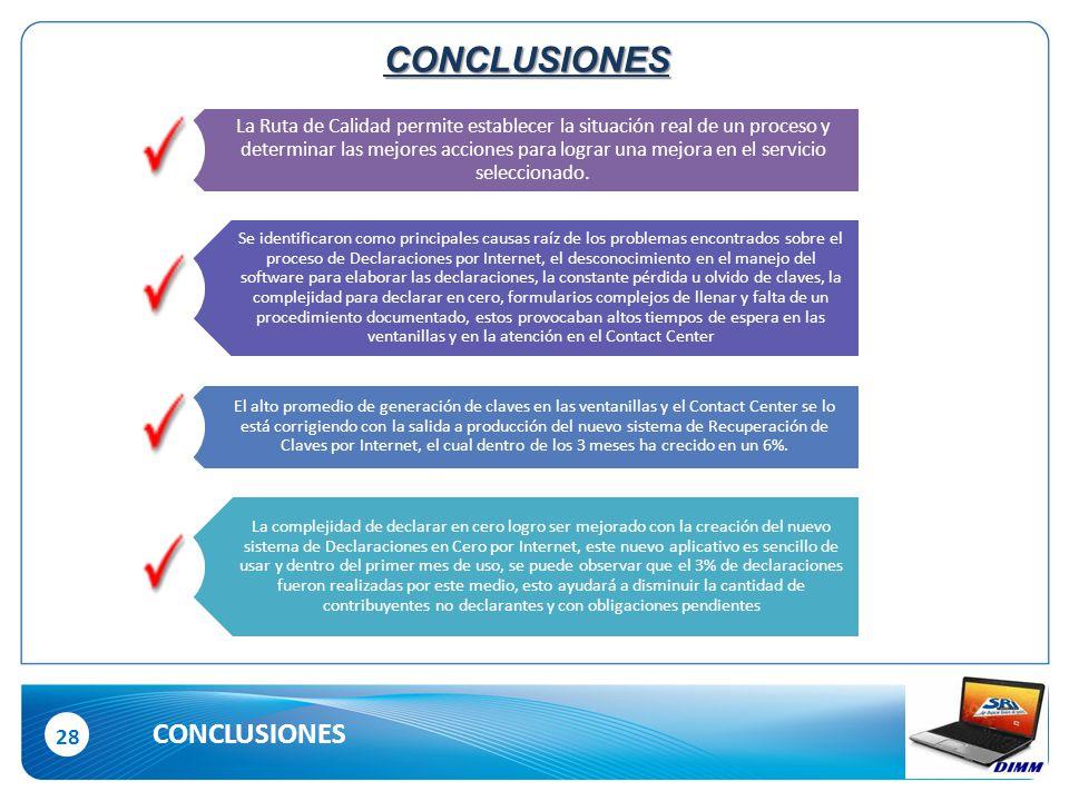 28 CONCLUSIONES CONCLUSIONES La Ruta de Calidad permite establecer la situación real de un proceso y determinar las mejores acciones para lograr una mejora en el servicio seleccionado.
