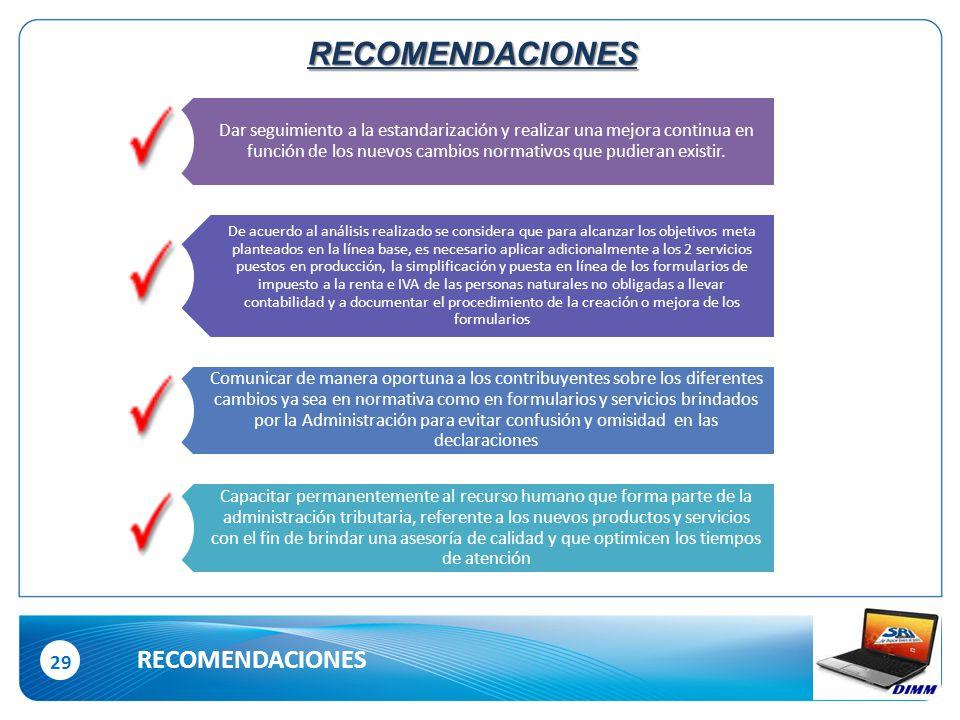 29 RECOMENDACIONES RECOMENDACIONES Dar seguimiento a la estandarización y realizar una mejora continua en función de los nuevos cambios normativos que pudieran existir.