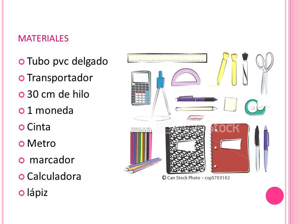 MATERIALES Tubo pvc delgado Transportador 30 cm de hilo 1 moneda Cinta Metro marcador Calculadora lápiz
