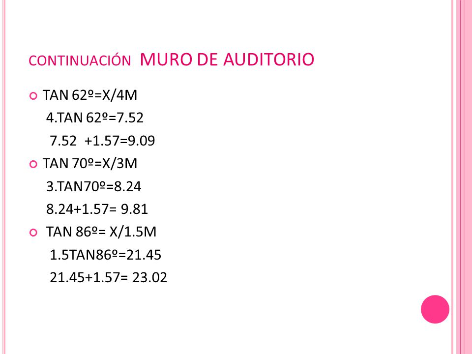 CONTINUACIÓN MURO DE AUDITORIO TAN 62º=X/4M 4.TAN 62º=7.52 7.52 +1.57=9.09 TAN 70º=X/3M 3.TAN70º=8.24 8.24+1.57= 9.81 TAN 86º= X/1.5M 1.5TAN86º=21.45 21.45+1.57= 23.02