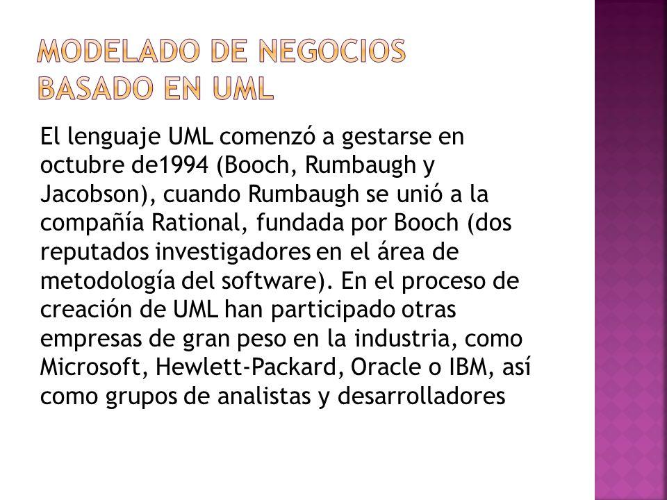 El lenguaje UML comenzó a gestarse en octubre de1994 (Booch, Rumbaugh y Jacobson), cuando Rumbaugh se unió a la compañía Rational, fundada por Booch (dos reputados investigadores en el área de metodología del software).