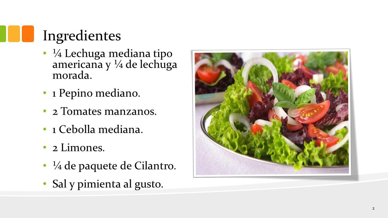 Ingredientes ¼ Lechuga mediana tipo americana y ¼ de lechuga morada.