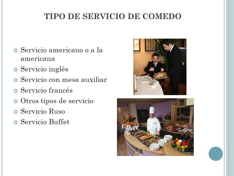 TIPO DE SERVICIO DE COMEDO Servicio americano o a la americana Servicio inglés Servicio con mesa auxiliar Servicio francés Otros tipos de servicio Servicio Ruso Servicio Buffet
