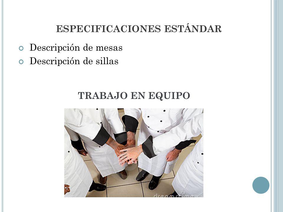 ESPECIFICACIONES ESTÁNDAR Descripción de mesas Descripción de sillas TRABAJO EN EQUIPO