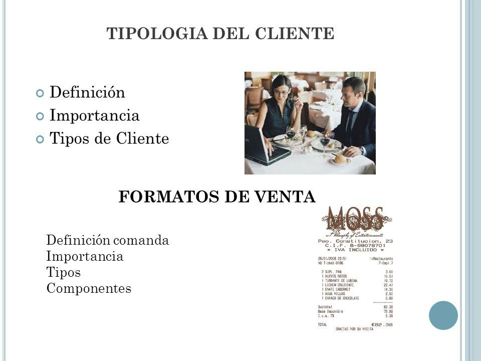 TIPOLOGIA DEL CLIENTE Definición Importancia Tipos de Cliente FORMATOS DE VENTA Definición comanda Importancia Tipos Componentes